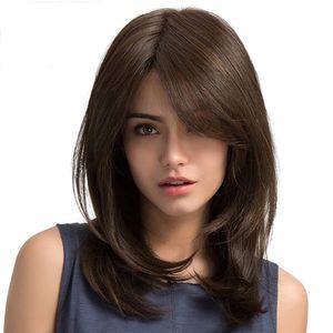 Damen hellbraune Seitenscheitel lange glatte Haare synthetische weibliche Perücken