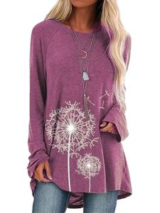 Übergröße Damen Langarm Top Pullover T-Shirt,Farbe: Pink,Größe:XL