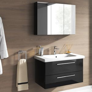 Badmöbel Set Neapel 2 tlg. Hochglanz Schwarz Spiegelschrank Waschbeckenschrank 80cm