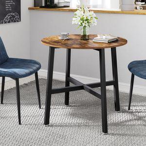 VASAGLE Esstisch klein, 80 x 75 cm (Ø x H), runder Küchentisch, Industrie-Design, vintagebraun-schwarz KDT080B01