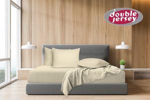 Double Jersey - Spannbettlaken 100% Baumwolle Jersey-Stretch, Ultra Weich und Bügelfrei, 180x200+38 Natur Weiss