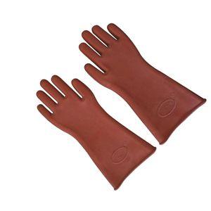 1 Paar 12KV Gummi Isolierhandschuhe Schutzhandschuhe Elektriker Handschuhe - schokoladenfarben