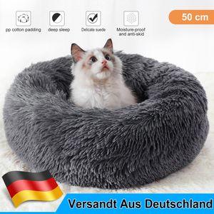 Hundebett, Katzenbett, Kissen Flauschig, Weich u Waschbar für Katzen Hunde, GrauDurchmesser 50cm  Dunkelgrau