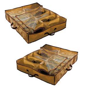 2x Schuhaufbewahrungstasche mit 12 Fächern   Unterbettkommode für Schuhe mit Durchsichtigem Deckel   Aufbewahrungskiste für Schuhaufbewahrung unter dem Bett Unterbettbox Kompakte Schuhbox Staubschutz