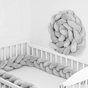 Bettschlange 4 m Baby geflochten Bettumrandung Bettrolle für Babybett nestchen schlange Nestchenschlange (Grau, 400 cm)