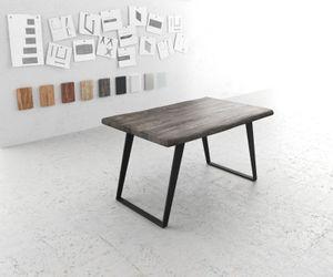 Massivholztisch Live-Edge Akazie Platin 140x90 Platte 5cm Gestell schräg Baumtisch