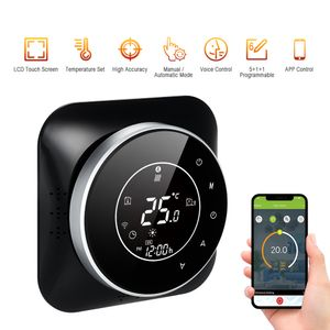 95-240 V Wi-Fi Smart Thermostat 5 + 1 + 1 Sechs Perioden Programmierbarer Thermostat Sprach-APP-Steuerung Hintergrundbeleuchtung LCD-Heizkessel-Thermoregulator Kompatibel mit Amazon Echo Google Home Tmall Genie