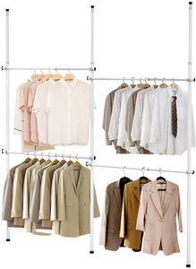 GOPLUS Verstellbarer Kleiderständer mit 4 Kleiderstangen, Teleskop System verstellbar, Kleideraufbewahrungssystem ohne Bohren, Pulverbeschichtetes aus Metall, Kleiderstange mit Gummifüße