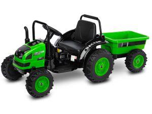 Kinder Elektro Bulldog Hector Green Traktor elektrisch 12V Trecker m. Anhänger
