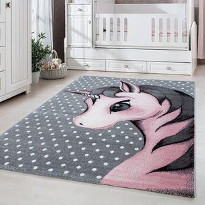 Kurzflor Kinderteppich, Kinderzimmerteppich Babyzimmer, Einhorn, PINK, Maße:120 cm x 170 cm