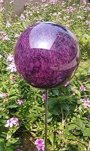 Rosenkugel 20 cm Edelstahl Lackierung violett Dekokugel mit Stab 80 cm
