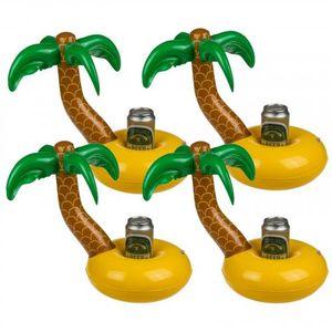 4er Set aufblasbare Palmeninsel Pool Getränkehalter Dosenhalter mit Palme