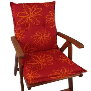 Niedriglehner Auflage Naxos für Gartenstühle 98x49 cm Blume Rot - 6 cm starke Premium Stuhlauflage mit Komfortschaumkern – Sitzauflage  EU