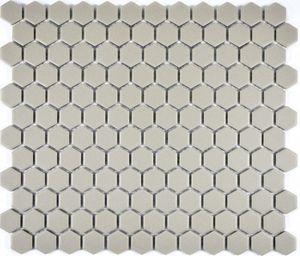 Mosaik Fliese Keramik Hexagon hellgrau unglasiert Mosaikwand Küchenrückwand  MOS11A-0202-R10_f
