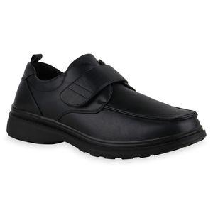 Mytrendshoe Herren Klassische Halbschuhe Klettverschluss Schuhe 835936, Farbe: Schwarz, Größe: 44