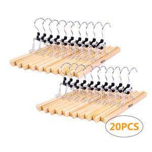BPT Hosenspanner Kleiderbügel,20 Stück,Holz Hosenbügel mit rutschfest Hosenklemmbügel Hosenhalter, 360 Grad drehbar