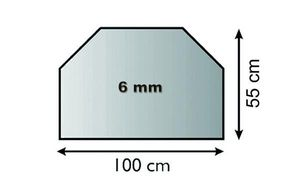 Funkenschutzplatte Glas 6mm Lienbacher Vorlegeplatte Trapez 100x55cm