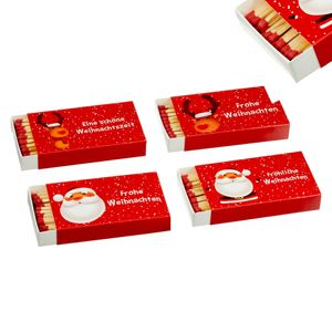 jameitop® 🔥 Streichholzschachteln 4 X 50er Packungen 10cm mit Weihnachts / X-Mas Design Streichhölzer Zündhölzer 🔥