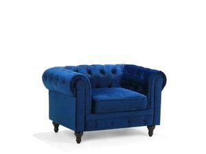 Sessel Blau Samtstoff Eichenholz Chesterfield-Stil Wohnzimmer