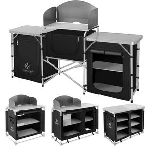 KESSER® Campingschrank, Campingküche mit Aluminiumgestell,  inkl.Tragetasche ,  Kocherschrank für Camping , Campingmöbel , Outdoor , schwarz/grau, Größe:Typ F2