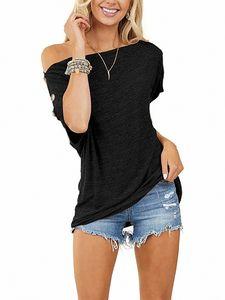 Lässiger Kurzarm-T-Shirt für Damen mit lockerem Pullover,Farbe: schwarz,Größe:3XL