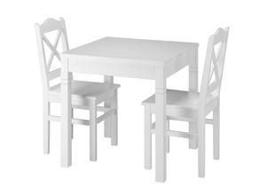 Weiße Essgruppe mit Tisch und 2 Stühle Kiefer Massivholz 90.70-50 B W-Set 20