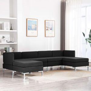 6-tlg. Sofagarnitur Couchgarnitur Loungesofa 2 x Sofa-Mittelteil+2 x Sofa-Eckelement+2 x Hocker Stoff Schwarz1664