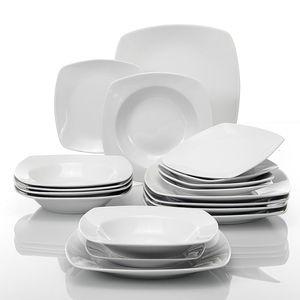 MALACASA, Serie Julia, 18 Tlg. Set Porzellan Geschirrset Tafelservice mit 6 Stück Kuchenteller, 6 Stück Flachteller und 6 Stück Suppenteller für 6 Personen