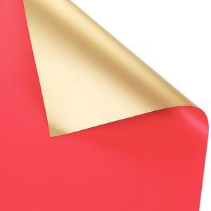 20 Stueck wasserdichte Blumen Geschenkpapier zweifarbiges Gold Duplex Origami Papier Verpackungspapier Geschenkverpackung Florist Blumenstrauss Blumendekor (Rot)