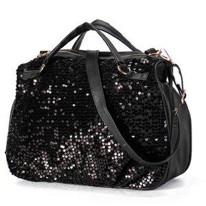 Schwarze Damen Paillette Bling Pailletten Handtasche Leder Einkaufstasche Umhängetasche Messenger Chain