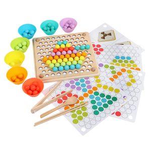 Montessori Clip Beads Brettspielzeug Mit Shape Design Karten Set   Kleinkinder Lernen Den Umgang Mit Stäbchen \\u0026 Löffeln, Farberkennung
