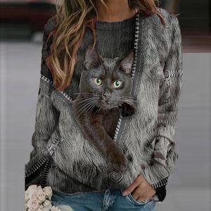Damenmode Lässig Langarm bedruckte O-Neck Tops Sweatshirt Bluse Größe:5XL,Farbe:Schwarz