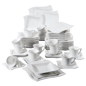 MALACASA Kombiservice »AMPARO« 60-tlg. Cremeweiß Porzellan Geschirrset Kombiservice Tafelservice mit Kaffeetassen, Untertassen, Dessertteller, Suppenteller und Speiseteller für 12 Personen