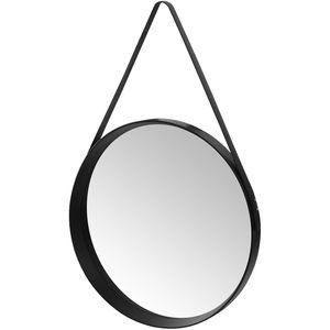 Wohaga® Wandspiegel rund Ø52cm mit Gurt-Aufhängung - Schwarz