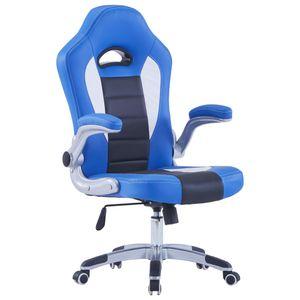 Gaming-Stuhl 122 cm - Racing Schreibtischstuhl, Bürostuhl Blau Kunstleder
