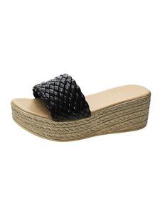 Damen Hausschuhe Mode einfarbig offene Zehen atmungsaktive High Heels Wedge Sandalen,Farbe: Schwarz,Größe:40