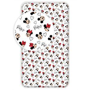 Disney Minnie Mickey Mouse Paris Spannbetttuch Bettlaken - Weiß
