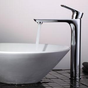 Wasserhahn bad hoch Waschbeckenarmatur Badarmatur mit langem Wasserauslass Armatur Bad Waschtischarmatur Einhandmischer, Homelody