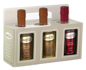 Geschenkbox 3x 0,35L Knoblauch Olivenöl, Pasta-Öl, Tomaten Balsam Essig Manufaktur Qualität