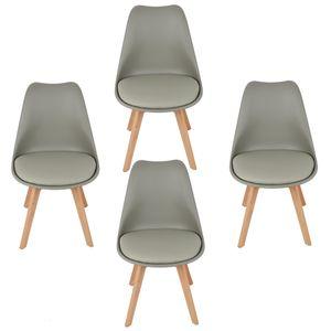 4er Set Esszimmerstuhl Kunstleder Polstersessel Loungesessel Stuhl Küche Esszimmer Grau
