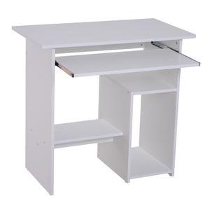 HOMCOM Computertisch, Schreibtisch, Bürotisch, Gamingtisch, Kinderschreibtisch PC-Tisch, Weiß, 80 x 45 x 73,5 cm