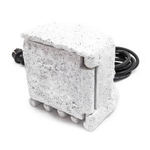 2-fach Gartensteckdose Außensteckdose Kunstharz Zeitschaltuhr IP44 Outdoor Steinoptik 5m Kabel