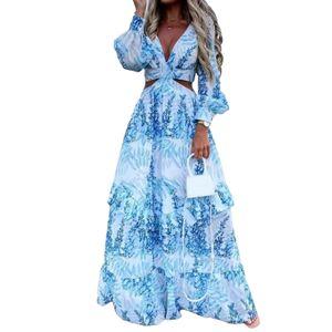 Frauen Maxikleid Langarm Großer Saum Tiefer V-Ausschnitt Floral Leaf Print Kleid für Strand Sky Blue L