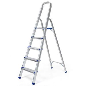 COSTWAY Trittleiter, Leiter aus Aluminium, Stehleiter Klappbar, Haushaltsleiter Klappleiter Mehrzweckleiter, Belastbarkeit 150 kg, Silbrig 5 Stufen