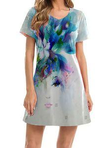 Frauen Strand-Print kurze Ärmel V-Hals Sommer-Casual Kleid kurze T-Shirt,Farbe: Porträt,Größe:XXL
