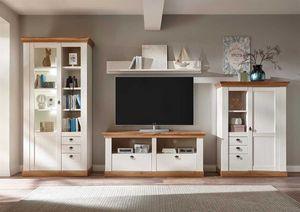 Wohnwand Landhaus - Pinie Weiß Wotan Eiche - Variante 3 mit Rückwandbeleuchtung