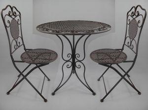 Gartengarnitur, 3-teilige Sitzgruppe, Gartenmöbel-Set Rustiko, Eisen, Braun