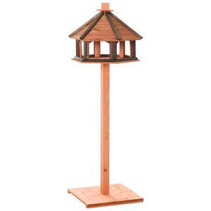 PawHut Vogelhaus hölzerner Vogelständer Vogel-Tischvogelhaus Spielstand mit wasserfestem Dach für den Aussenbereich Natur Ø52 x 130H cm