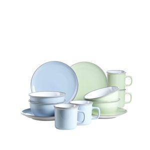 Mäser 931235 Maila Frühstücksset Keramik Geschirr-Set für 4 Personen, hellblau/hellgrün, 12-teilig (1 Set)