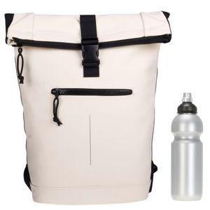Rucksack Plane Kurierrucksack Time Bag Mart Roll-top Fahrradrucksack Freizeitrucksack Damen Mädchen 511135 05 Weiss + Flasche